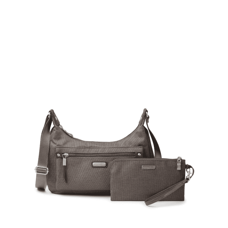 Baggallini Out and About Bagg Dark Umber Heritage showing wallet-min